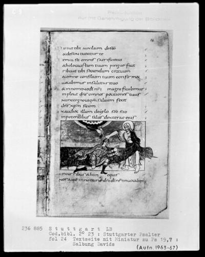 Der Stuttgarter Bibelpsalter — Salbung Davids durch Samuel, Folio 24recto