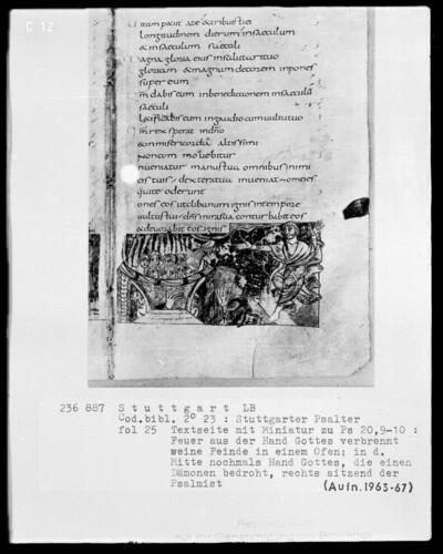 Der Stuttgarter Bibelpsalter — Die Rechte Gottes und seine Hasser, Folio 25recto