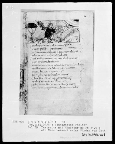 Der Stuttgarter Bibelpsalter — Gott verzeiht David, Folio 39recto
