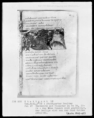 Der Stuttgarter Bibelpsalter — Den Propheten hält Gottes Hand, Folio 47recto