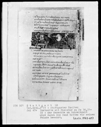 Der Stuttgarter Bibelpsalter — Der Sünder bekämpft den Gerechten, Folio 47verso
