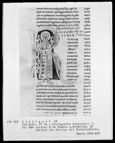 Stuttgarter Passionale — Heilige der pars aestiva (zweiter Band) — Initiale R (egnante igitur), darin der heilige Hermes von Rom, Folio 69verso