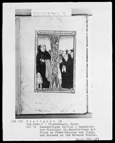 Lateinisch-französisches Stundenbuch (Livre d'heures) — Initiale I mit dem heiligen Maiolus von Cluny und betenden Mönchen, Folio 1verso