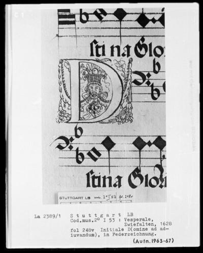 Vesperale (Benediktinerhandschrift) — Buchseite mit zwei Zierinitialen, Folio 248verso — Initiale D mit Kopf, Folio 248verso