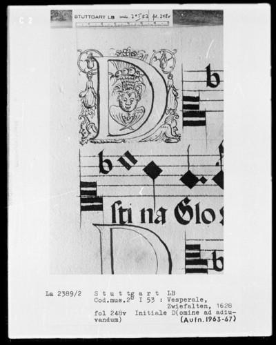 Vesperale (Benediktinerhandschrift) — Buchseite mit zwei Zierinitialen, Folio 248verso — Initiale D (omine ad) mit Cherub und Früchtekorb, Folio 248verso