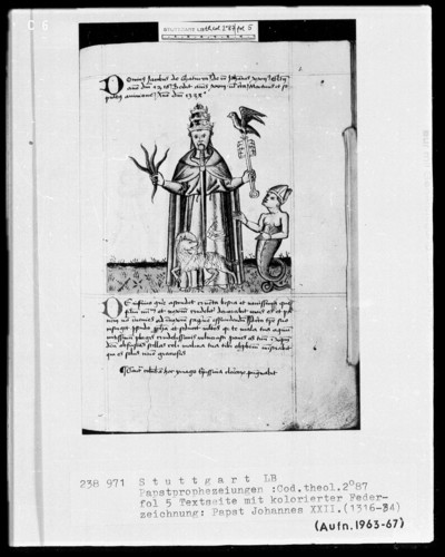 Pseudo-Joachim von Fiore und Telesphorus von Cosenza, Papstprophezeiungen, sowie Heinrich von Langenstein, De Antichristo et Schismate — Papst Johannes 22. (1316-1334), Folio 5recto