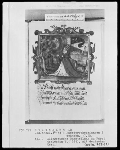 Flugschrift mit Illustrationen aus den Papstprophezeiungen mit antipäpstlichen Spottversen — Allegorische Darstellung zu Papst Coelestin 5. (1294), Folio 7recto