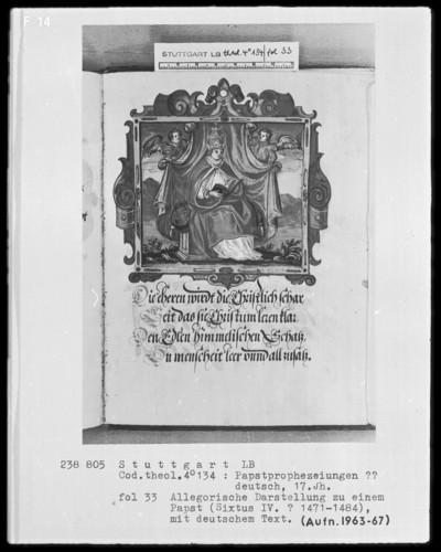 Flugschrift mit Illustrationen aus den Papstprophezeiungen mit antipäpstlichen Spottversen — Allegorische Darstellung von Papst Sixtus 4. (1471-1484), Folio 33recto