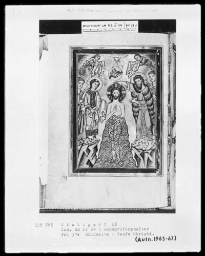 Psalterium (sogenannter Landgrafenpsalter) — Taufe Christi, Folio 31verso