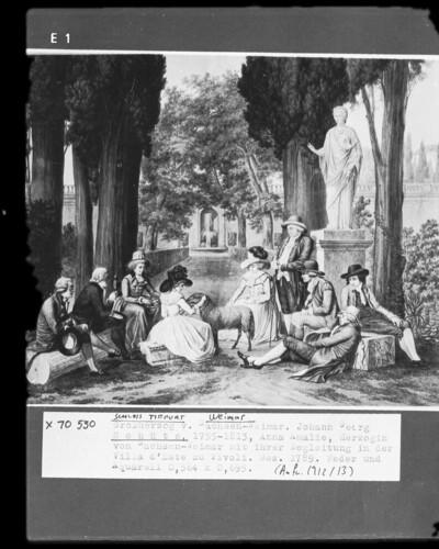 Anna Amalia, Herzogin von Sachsen-Weimar mit ihrer Begleitung in der Villa d'Este zu Tivoli
