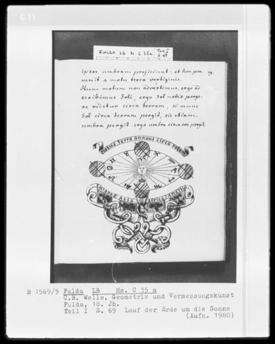Carl Benedict Welle, Geometrie und Vermessungskunst — Die jährliche Bewegung der Erde um die Sonne, Folio 69