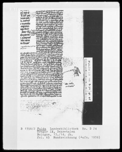Dekretalen Gregors des Neunten — Ein Mönch, Folio 65recto