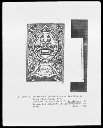 Des Fürstlichen Hochstifts Fulda Staats-und Standskalender auf das Jahr 1792 — Wappen des Domherrn Adolph Freiherrn von Hövel