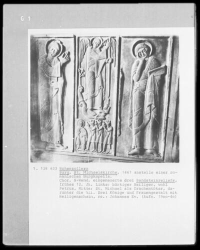 Der heilige Michael als Drachentöter, die heiligen drei Könige, die apokalyptische Madonna anbetend und zwei Heilige