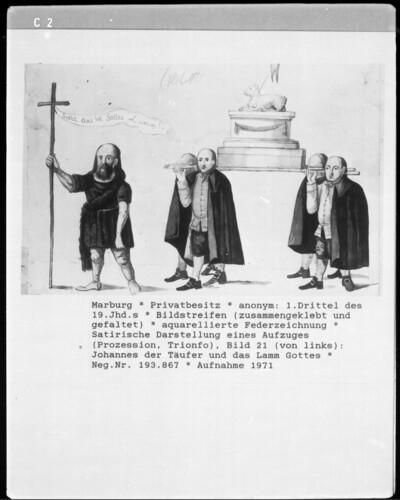 Satirische Darstellung eines Aufzuges (Prozession, Trionfo), Bild 21: Johannes der Täufer und das Lamm Gottes