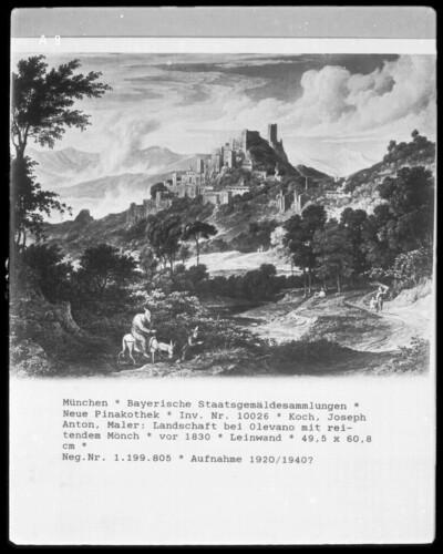 Landschaft bei Olevano mit reitendem Mönch