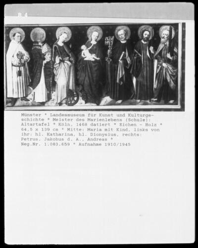 Madonna mit Heiligen (von links nach rechts: Katharina, Dionysius, Petrus, Jakobus major und Andreas)