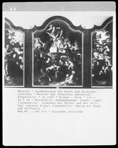 Mittelbild: Kreuzabnahme; linker Flügel: Johannes der Täufer mit Stifter; rechter Flügel: Maria mit Kind und Stifterin