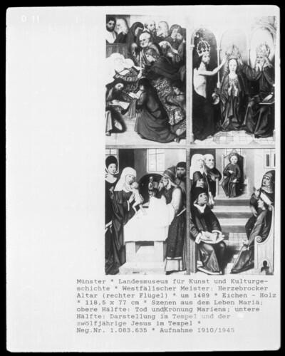 Rechter Flügel: Tod Mariens; Krönung Mariens; Darbringung im Tempel; der zwölfjährige Jesus im Tempel