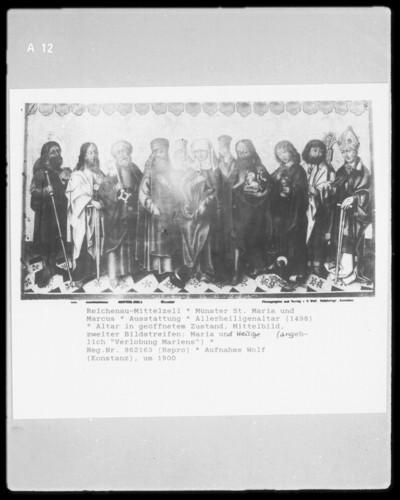 Allerheiligen-Altar — Altar in geöffnetem Zustand — Zweiter Bildstreifen: Maria und Apostel (angeblich: