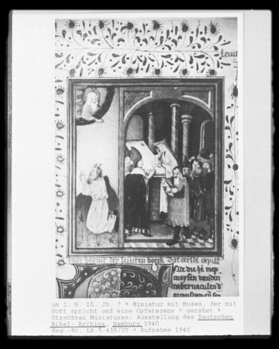 Miniatur mit Moses, der mit Gott spricht und eine Opferszene
