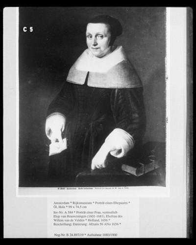 Porträt eines Ehepaares — Porträt einer Frau, vermutlich Elsje van Houweningen (1601-1681), Ehefrau des Willem van de Velden