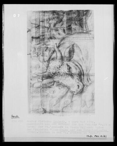 Ausschnitt aus dem Entwurf für das Fenster 23 der Sint Janskerk, Gouda: Opfer des Propheten, Stier auf dem Scheiterhaufen