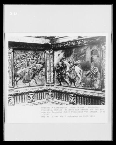 Hochaltar, Predella, Detail: Eroberung Granadas durch Ferdinand von Aragon im Jahre 1492