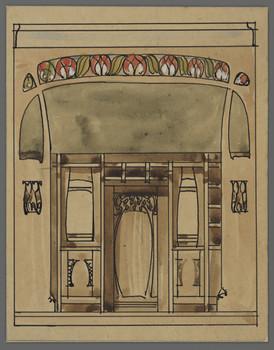Haus Grein (Offenbach): Teilaufriß einer Dielenwand mit Tür