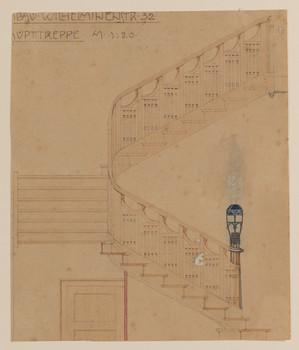 Entwurf einer Treppe, vermutlich im Haus Alexander Koch, Darmstadt