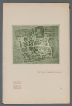 Ausstellung der Künstlerkolonie Darmstadt 1901; Gesamtsituation der Bauten auf der Mathildenhöhe (Blatt 16 aus den