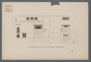 Wohnhaus Habich, Darmstadt, Geometrische Ansicht: Aufrisse von Nord- und Westfassade/Eingang (Blatt 28 aus den