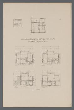 Wohnhaus Habich, Darmstadt: Grundrisse und Schnitt (Blatt 29 aus den