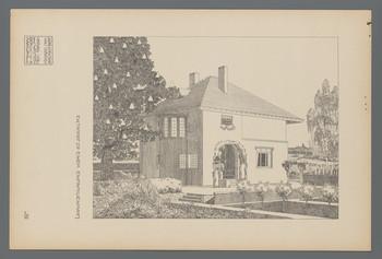 Projekt Gartenvorstadt Hohler Weg, Darmstadt: Entwurf zu einem Einfamilienwohnhaus, Perspektive (Blatt III.50 aus den