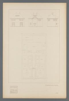 Projekt Gartenvorstadt Hohler Weg, Darmstadt: Drei Aufrisse und ein Lageplan zu einem Einfamilienwohnhaus (Blatt III.104 aus den