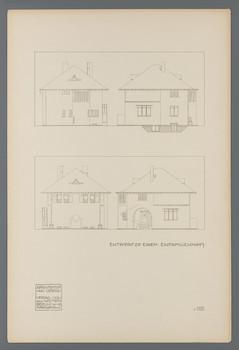 Projekt Gartenvorstadt Hohler Weg, Darmstadt: Vier Aufrisse zu einem Einfamilienwohnhaus (Blatt III.103 aus den