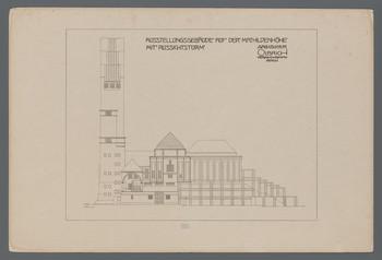 Ausstellungsgebäude auf der Mathildenhöhe mit Aussichtsturm, Darmstadt: Aufriß der Südfassade (Blatt 94 aus den