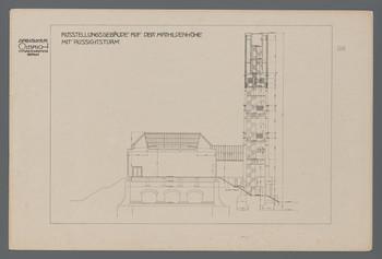 Ausstellungsgebäude auf der Mathildenhöhe mit Aussichtsturm, Darmstadt: Aufriß der Südfassade (Blatt 96 aus den