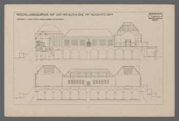 Ausstellungsgebäude Mathildenhöhe, Darmstadt: Hofansicht und Schnitt durch Verbindungsbau und Vestibüle (Blatt 97 aus den Wasmuth-Mappen, Verlag Ernst Wasmuth, Berlin)