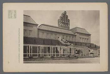 Ausstellungsgebäude Mathildenhöhe, Darmstadt: Ansicht der Ostfassade (Blatt III.2 aus den Wasmuth-Mappen, Verlag Ernst Wasmuth, Berlin)