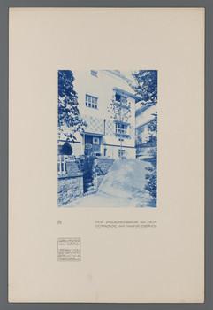 Haus Olbrich, Darmstadt: Dienereingang an der Ostfassade (Blatt 39 aus den Wasmuth-Mappen, Bd. 1, Verlag Ernst Wasmuth, Berlin)