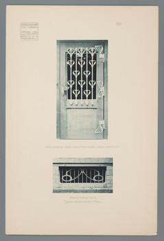 Haus Olbrich, Darmstadt: Beschlag der Gartentür, Fenstergitter, Schmiedearbeiten (Blatt 111 aus den