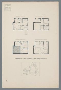 Haus Olbrich, Darmstadt: Grundrisse und Situation (Blatt 4 aus den
