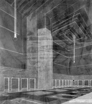 Interieurentwurf für den Saal des Deutschen Museums in Hagen auf der Weltausstellung in Gent