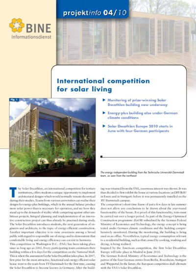 International competition for solar living.