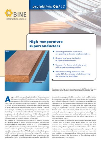 High temperature superconductors.