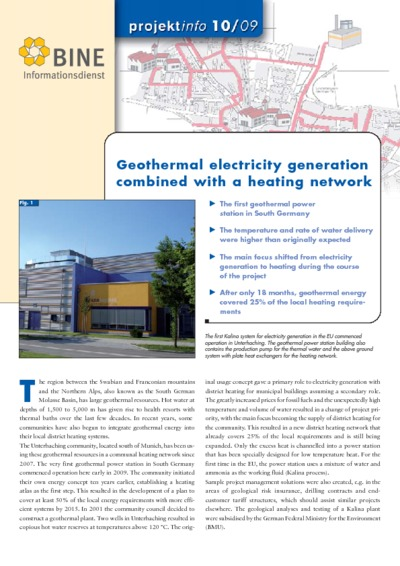 Geothermal electricity generation combined with a heating network.