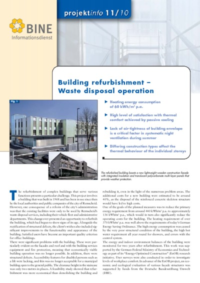 Building refurbishment - Waste disposal operations.