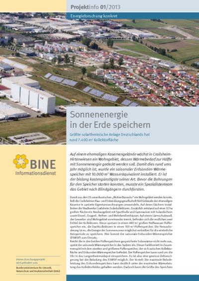 Sonnenenergie in der Erde speichern. Größte solarthermische Anlage Deutschlands hat rund 7 . 400 m 2 Kollektorfläche.