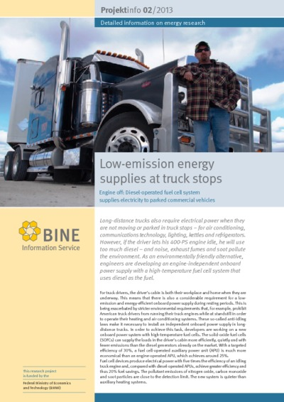 Low-emission energy supplies at truck stops. Fuel cell onboard power supply.